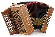 Castagnari Mory button accordion, natural finish walnut