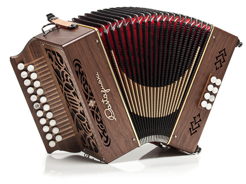 Castagnari Nik button accordion, natural finish walnut