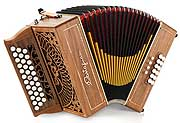 Castagnari Rik button accordion, natural finish cherry