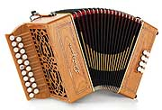 Castagnari Roma button accordion, natural finish cherry