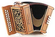 Castagnari Dinn III button accordion, natural finish cherry