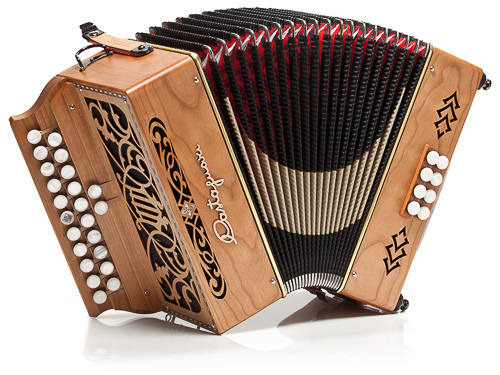 Castagnari Jean-Pierre button accordion, natural finish cherry