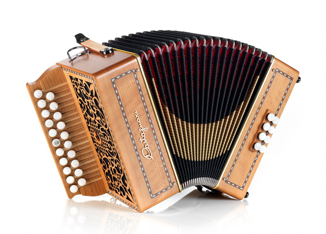 Castagnari Laura button accordion, natural finish cherry