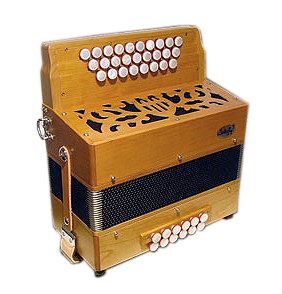 Saltarelle Mantique button accordion, natural finish cherry