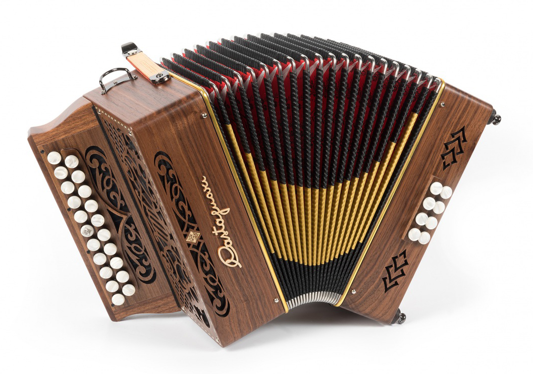 Castagnari Niko button accordion, natural finish walnut