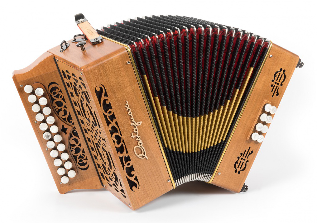 Castagnari Sander button accordion, natural finish walnut